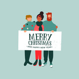 Christmas and New Year card of diverse people team - 230880765