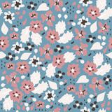 Seamless pattern with small simple flowers. Vector hand drawn illustration. - 230882364