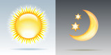 Day and night illustrations with sun and moon.