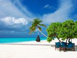 Maldives beach resort panoramic landscape. Summer vacation travel holiday background concept. Maldives paradise beach. - 230884790
