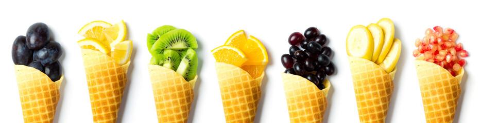 Fresh fruits in cones © seralex