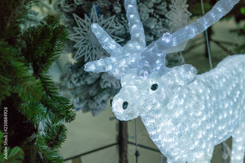 white deer christmas decorations wreaths and balls new years holiday