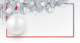 Christmas and New Year banner with fir branches and Christmas balls. - 230885914