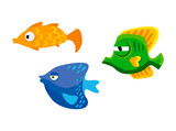 Three colorful cute fish on white background