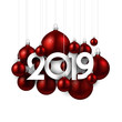 White festive 2019 new year card with red Christmas balls.