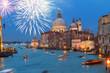 Basilica Santa Maria della Salute at night with fireworks, Venice, Italy