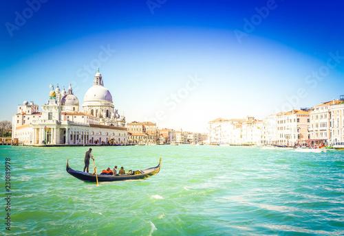 Basilica Santa Maria della Salute and Grand canal with gondola boat, Venice, Italy - 230889978