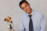 Funny portrait of elegant man and his dog. Dog and owner matching clothes - 230894963