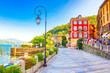 Leinwanddruck Bild - Promenade von Cannobio am Lago Maggiore, Piemont, Italien