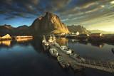 sunset - Reine, Lofoten islands, Norway - 230899383