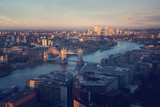 London aerial view with Tower Bridge, UK - 230899522