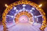 Night winter Moscow in the snow. Tverskaya street decorated for the New year. Light tunnel. - 230901994