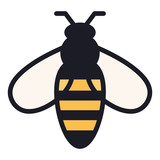 Simple, flat bee icon. Color illustration. Isolated on white