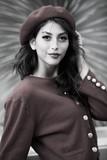 Beautiful, stylish woman wearing beret - 230904177