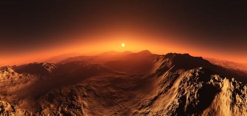 Mars at sunset, the surface of Mars at sunrise,  © ustas