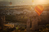 Landscaoe with colorful balloons at sunrise over love valley in Cappadocia, Turkey. - 230905711