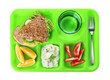 Leinwandbild Motiv Serving tray with healthy food on white background, top view. School lunch