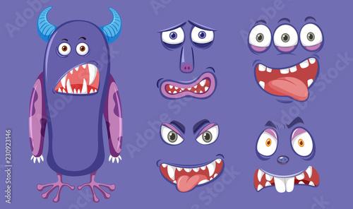 Fioletowy potwór o różnym wyrazie twarzy