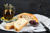 olives, olive oil and ciabatta