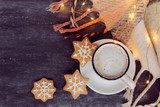 winter warming coffee/ frothy cappuccino, three ginger snowflakes and plaid with garland lights  - 230943351