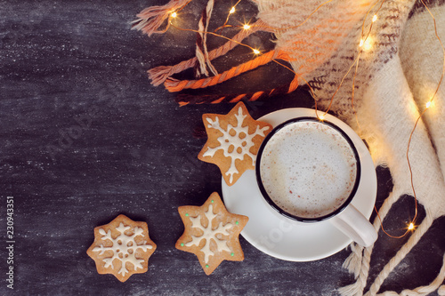 Poster winter warming coffee/ frothy cappuccino, three ginger snowflakes and plaid with garland lights