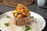 chinese crispy yam ring basket with prawns - 230947946