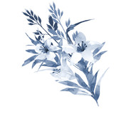 Cute bouquet with lily flowers and leaves watercolor in hand drawn style in blue. Floral design element isolated on white background