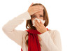 Upset young woman suffering from influenza at home.