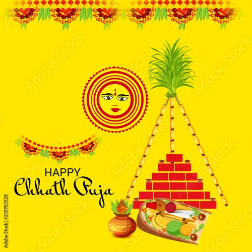 Leinwanddruck Bild Happy Chhath Puja.