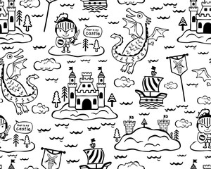 Seamless pattern vector illustration with dragon, knight, castle, sailboat, fairyland theme set.