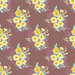 Delightful seamless pattern with small flowers of cute petunias. Regular order. Country style millefleurs. Floral background for home textiles, interiors, linens. - 230954152
