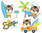 Vector set of little cat cartoon, surfing time in the beach