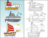 vector illustration with funny water transportation