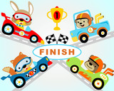 Set of race cars cartoon with funny racers