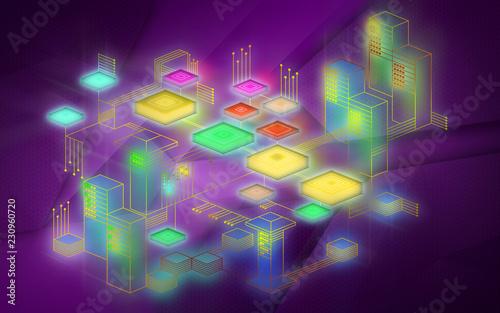 Tło sieci Blockchain. Koncepcja reprezentuje wymianę danych w Internecie rzeczy. Nowoczesna technologia wymiany informacji między urządzeniami.