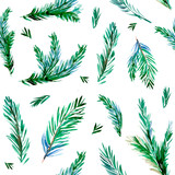 Seamless pattern with pine branches. Watercolor illustration - 230969775