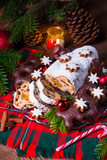 delicious dresdner christ stollen with marzipan and raisins - 230971583