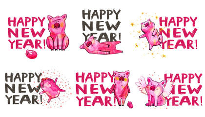 Cute pig with creative 2019 New Year lettering. Symbol of the year in the Chinese calendar. Watercolor illustration for postcard.