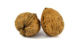 two walnuts isolated on white background macro - 230978134