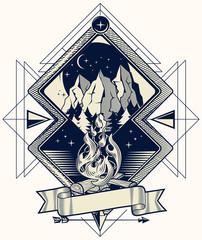 Camp fire monochrome decorative emblem © alex_bond