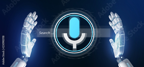 Cyborg hand holding a ocal search system with button and icon 3d rendering © Production Perig