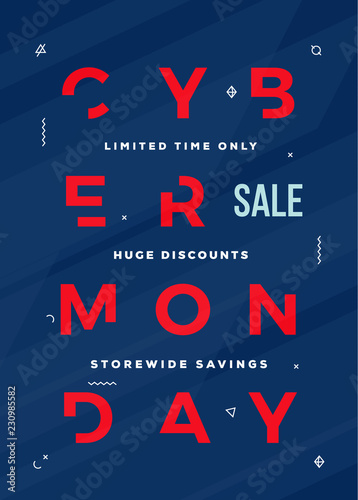 Cyber Monday Flyer, Card or Banner Template. Reduced Typography Concept with Abstract Decorative Elements and Textured Background. Red on Blue Colors
