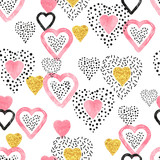 Golden and pink heart pattern. Valentine's Day seamless background. - 230994304