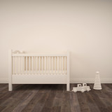 Baby bedroom with white crib and toys on parquet floor. 3d architecture visualization - 230998557