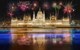 Fireworks over the Parliament building in Budapest, Hungary. - 231004306