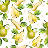 Watercolor Pattern with pears and flowers.  - 231012371