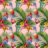 Watercolor tropical wildlife seamless pattern. Hand Drawn jungle nature, hibiscus flowers, drinks party illustration - 231012594