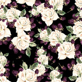 Beautiful watercolor seamless pattern with flowers of  rose and berry.   - 231012755