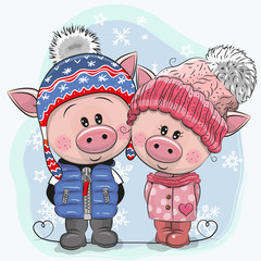 Cute winter illustration Pigs Boy and Girl in hats and coats