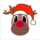 Christmas reindeer with santa hat